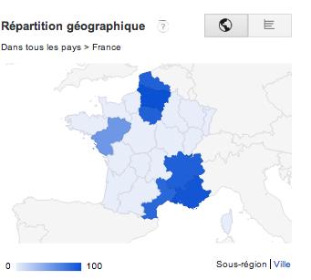 Répartition géographique de l'intérêt de Machallah en France